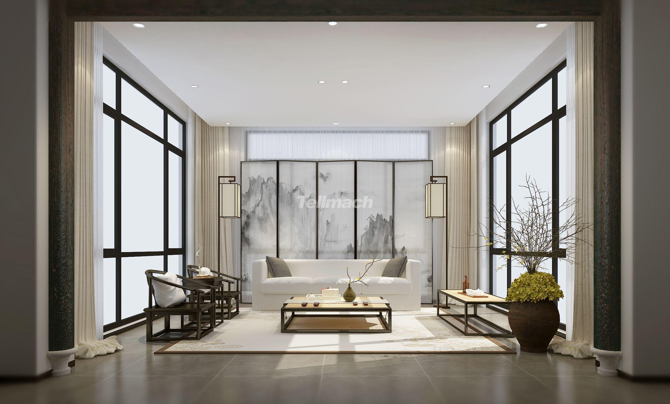 禅意400平米别墅装修案例静享发簪中式紫荆花风格设计图图片