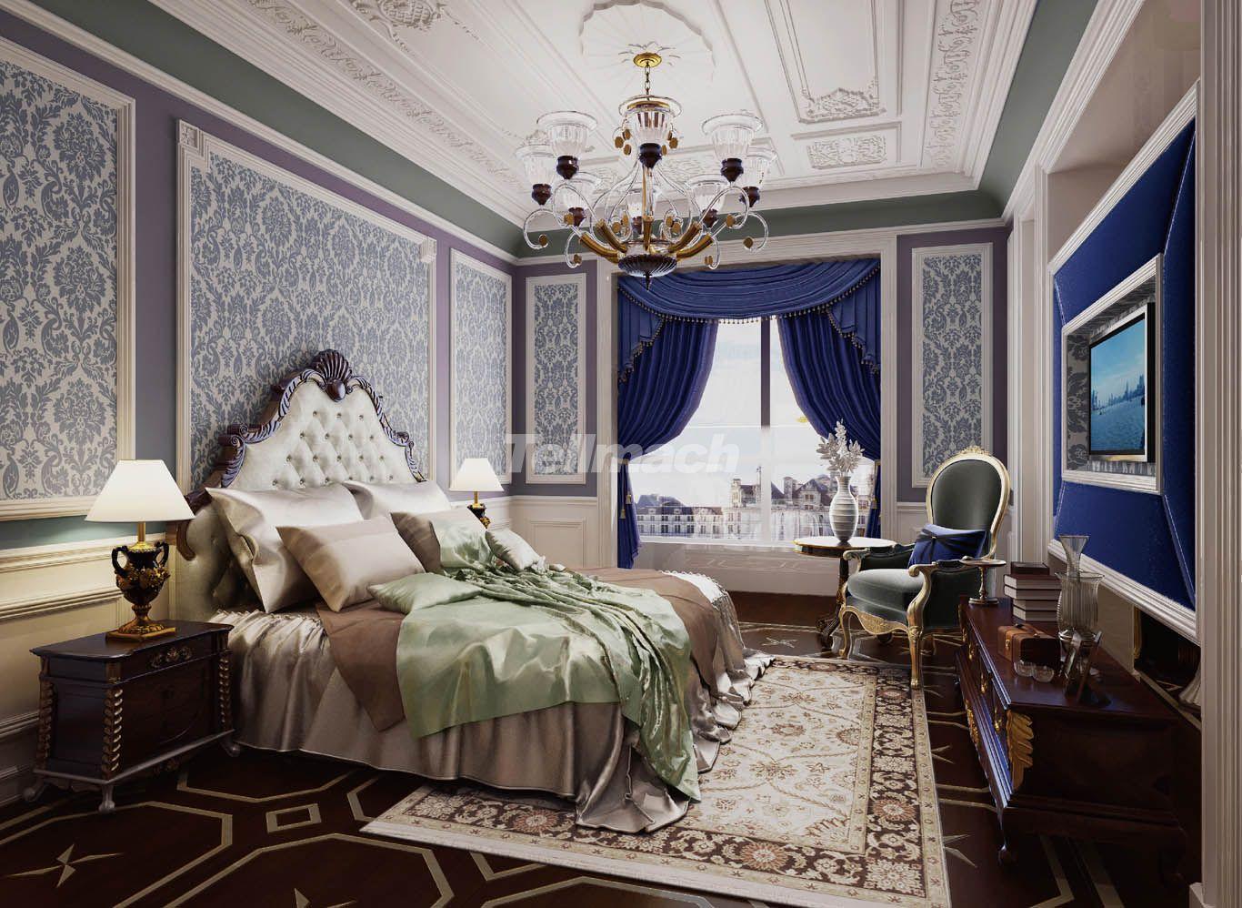 装修设计 > 北京自在香山800平米欧式风格设计方案 以优美为主  主卧